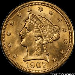 1907 Liberty $2.50 Gold Quarter Eagle PCGS MS66 Frosty Gem BU PQ+ Coin