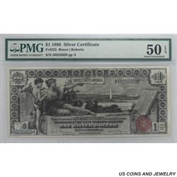 1896 $1 Educational Series Silver Certificate PMG AU 50 EPQ Fr. 225 - Nice Circulated Note