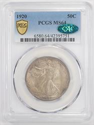 1920 Walking Liberty Half Dollar PCGS MS 64 CAC - Nice Original Patina