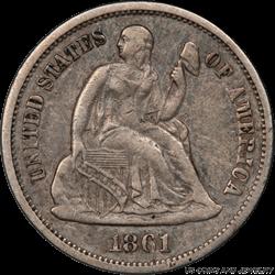 1861-S Seated Liberty Dime PCGS XF40 Civil War Era Coin