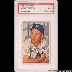 1952 BOWMAN MICKEY MANTLE PSA VG 3 #101 02063368