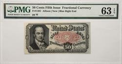 Fifth Issue 50 Cents Fractional Currency Fr#1381  PMG CU63 EPQ
