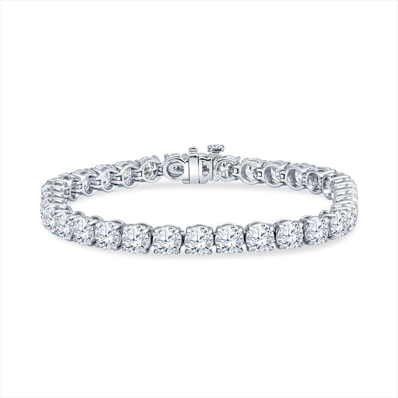 17.34cttw Round Brilliant Diamond and Platinum Tennis Bracelet - 37 Round Diamonds .50ct each