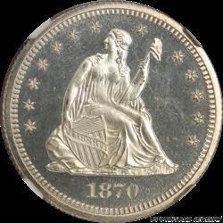 1870 Seated Liberty Quarter  NGC PR65 CAMEO