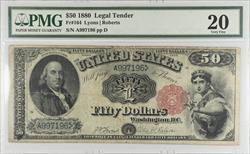 1880 $50 Legal Tender PMG  VF20 FR#164 sn A997196