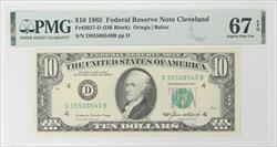 1985 $10 Federal Reserve Note - Cleveland Fr. 2027-D, PMG SGU 67 EPQ