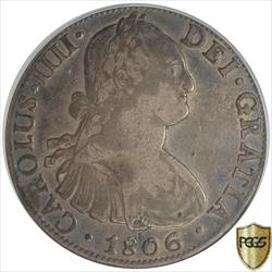 Colonial Spain: Mexico 1806-Mo TH Carolus IIII 8R Silver PCGS VF30