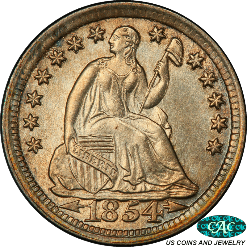 1854  Seated Liberty Half Dime PCGS and CAC