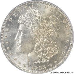 1903 Morgan Silver Dollar PCGS MS65 Frosty  GEM BU