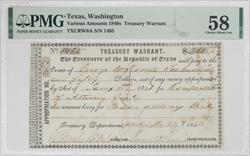 Texas, Washington  1840S $250 Treasury Warrant PMG