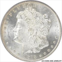 1878-CC Morgan Silver Dollar PCGS MS62 Frosty White First Year of Issue