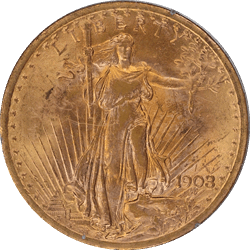 1908  No Motto Saint St. Gaudens $20 Gold Double Eagle Old Rattler PCGS MS 61