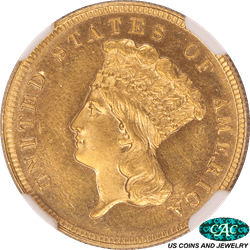 1888 Indian Princess $3 Gold Piece NGC and CAC PF 63 CAMEO Low Population in CAMEO