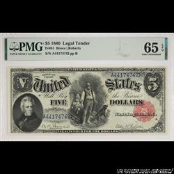 1880 $5 Wood Chopper Legal Tender Note PMG GU 65 EPQ Fr#81 S/N A44174742