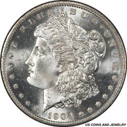1904-O Morgan Silver Dollar PCGS MS65 An Exceptionally well struck example for the date