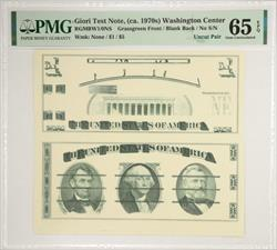 Giori Test Note, (ca. 1970s) Washington CenterGreen Front/Blank Back PMG