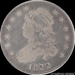 1822 Capped Bust Quarter PCGS, Original Surfaces,  Very Good 10