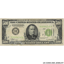 1934 $500 Federal Reserve Note of New York Very Fine - Very Nice Note