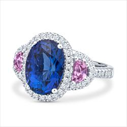 Natural Oval Tanzanite and Pink Sapphire Platinum Ring with Diamond Halo