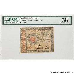 1779 $4 Continental Currency Fr CC-90,  HAB 14, SN 32091 PMG CAU 58 - Very Nice Original Note