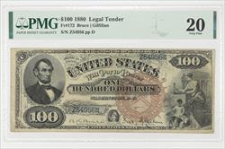 1880 $100 LEGAL TENDER FR#172 SN Z54956 PMG VF 20