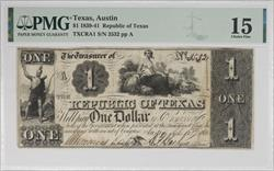 Texas, Austin 1839-41 $1 Republic of Texas Treasury Note PMG CF15 SN# 3532