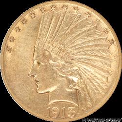 1913-S Indian Head $10 Gold Eagle Small White Holder ANACS AU 50